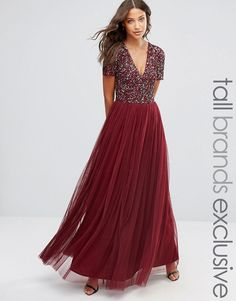 Image 1 of Maya Tall V Neck Maxi Tulle Dress With Tonal Delicate Sequins