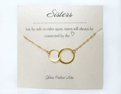 Infinity Necklace Gift With Personalized Sister Note Card More