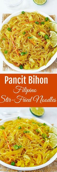 Pancit Bihon is vegan and gluten-free. It is traditionally made with rice noodles, meat and vegetables.
