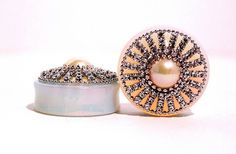 Opal+Diamond+and+Pearl+Wedding+Plugs+1+1/2+Inch+by+arksendeavors,+$70.00