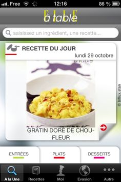 Appli Elle à table (iPhone, iPod touch et iPad)  Ecran 1 : Recettes du jour
