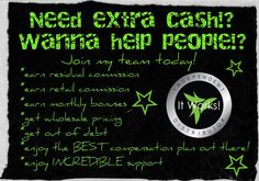 """Not only do we have great products... but the business plan is truly a great opportunity to supplement or even replace your current income! I'm always happy to share how this """"Crazy Wrap Thing"""" can bring you both health AND wealth. Sound interesting? #ItWorksGlobal #ExtraCash www.wanttoloseitwrapit.myitworks.com"""