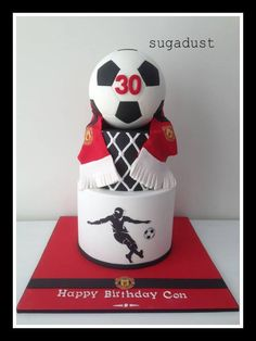 Manchester United football cake - by Sugadust 70th Birthday Cake For Men, Football Birthday Cake, Soccer Birthday Parties, Man Birthday, Football Cakes, Soccer Ball Cake, Soccer Cakes, Manchester United Cake, Sports Themed Cakes