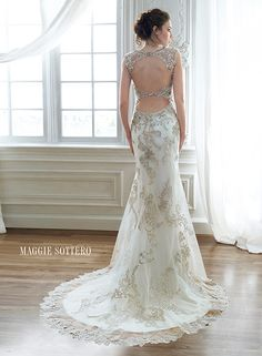 Vintage, Lace, Fitted Sheath Wedding Dress with a Double Keyhole Open Back by Designer Maggie Sottero available at The Bridal Cottage in NLR, AR
