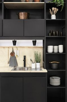 Lundia kitchen in black by Joanna Laajisto | Scandinavian Deko. Most of the kitchen ideas I show my partner are white, I hope he feel refreshed my seeing black ;)