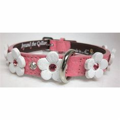 The Ellie Flowers Leather Dog Collar with a genuine Swarovski Crystal in the center of and in between flowers on genuine leather. Choose your leather and crystal color.