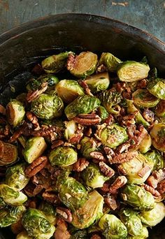 Serving these Roasted Brussels Sprouts with Pecans and Bacon this Thanksgiving! We love topping this dish with Diamond Pecans!