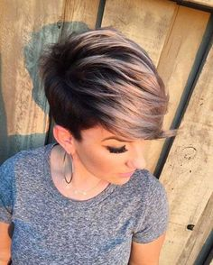 Platinum blonde pixie with side bangs make her icy blue eye color pop and add a nice style to her. New Trend Pixie Hairstyle with side bangs 2017 and 2018..