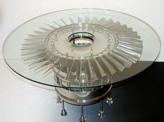 Table made from 1950s Jet engine turbine these are so cool bet you can't guess who found them? lol there not exactly cheap tho lol