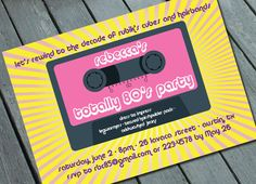 80s theme party decorations | TOTALLY 80s PARTY Invitation Digital printable file by SweetLex