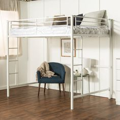 Maximize your kid's bedroom with this space-saving full size loft bed. Support slats are included, no box spring needed for bed. Accommodates a variety of options below such as storage or play. Bedroom Bed, Bedroom Decor, Bedroom Ideas, Bedrooms, Ocean Bedroom, Gray Bedroom, Bedroom Inspo, Bedroom Colors, Master Bedroom