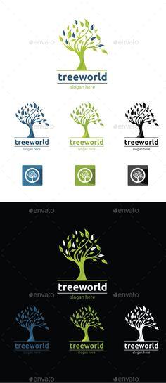 Tree World Logo Design Template Vector #logotype Download it here: http://graphicriver.net/item/tree-world/12314158?s_rank=606?ref=nexion