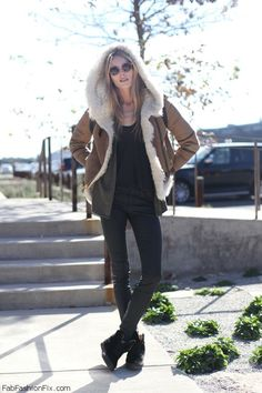 Brown suede aviator jacket for winter street style.