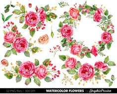 Watercolor Flower Clipart, Wedding floral Clip art, Floral Bouquet Clipart, wedding flowers clip art, Watercolour Hand Painted Clip Art by GraphicPassion
