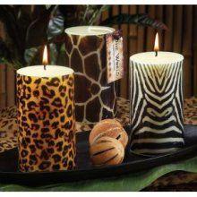 Safari Wild Animal Prints: Cheetah, giraffe and zebra pillar candles add a wow factor to your home. Safari Home Decor, Safari Decorations, Candle Lanterns, Pillar Candles, Wax Candles, Animal Print Decor, Animal Prints, Leopard Prints, Cheetah