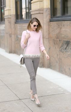 Pastel pink J. Crew sweater--weekend outfit inspiration via @ppfgirl