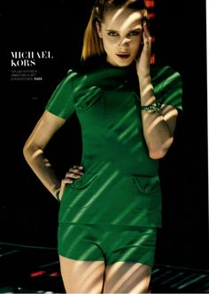 Palm green is the color of spring. Michael Kors Top and Hot Pant. Grazia, Germany, February 2013