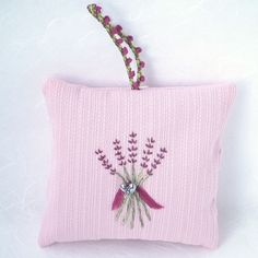 Monday is the last day you can get this #lavender #sachet in time for #valentinesday, Hand-embroidered Hanging Lavender Sachet filled with home-grown lavender from Napa Valley | Sleep Aid | Air Freshener http://etsy.me/2nSopKR #art #fiberart #pink