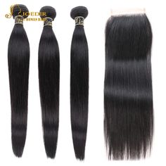 Joedir Hair Pre-colored Human Hair Bundles With Closure Brazilian Hair Straight Non Remy 3 Bundles With Closure Free Shipping  Price: 78.99 & FREE Shipping  #fashion|#sport|#tech|#lifestyle Model Pictures, Remy Human Hair, Hair Oil, Brazilian Hair, Hair Type, Straight Hairstyles, Your Hair, Black Women, Hair Beauty