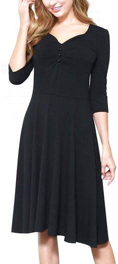 Women's Sleeve Vintage Casual Comfort Party Dress with Pockets / Vintage Christmas Dress. Buy products related to vintage christmas dress, 1950 christmas dress, vintage christmas fashion, dress christmas outfit and christmas dress. Vintage Christmas Dress, Queen Fashion, Mom Fashion, Fashion Women, Fishtail Maxi Dress, Cut Clothes, Casual Work Dresses, Knee Length Dresses, Women's Fashion Dresses