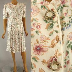 Vintage 80s FLORAL Skirt Blouse Easter Shabby Pearl Cream Pink High WAIST sz 10 #MsBasiaCalifornia
