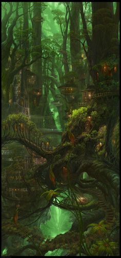 Where? - Beautiful fantasy art of a village in the trees! -reminiscent of Lothlorien, an eleven village in The Lord of the Rings by Tolkien - this town, however has more tropical foliage and a snake or dragon head visible