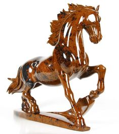 "10.0 "" Beautiful Carved Mahogany Obsidian Horse Sculpture, Stone origin : Mexico. Via rikoo.com"