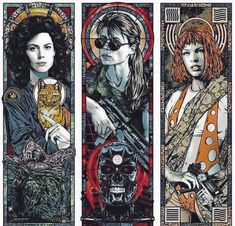"Rhys Cooper drew this glorious ""Our Ladies of Sci-Fi"" fan art triptych of female science-fiction icons Ellen Ripley from Alien, Sarah Connor from Terminator, and Leeloo from The Fifth Element. Arte Alien, Arte Sci Fi, Sci Fi Art, Sarah Connor Terminator, Rhys Cooper, Sci Fi Kunst, Movie Poster Art, Sci Fi Movies, Art Movies"