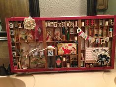Sewing Inspired Printers Tray Keepsake by Lynn Lee at Miss Ts Picker Project Class Craft Room Decor, Home Decor, Printers, Trays, Liquor Cabinet, Tin, Diy Projects, Paper Crafts, Crafty