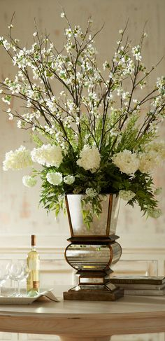 lovely arrangement....mirrored planter beautiful    con   hydrangeas   , love,,,,,**+