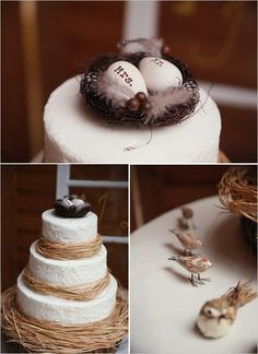 Simple wedding cake.. love this as a cake topper!