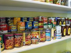 Use 2x4s as risers for canned goods so you can see them all!