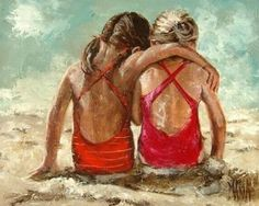 Art Painting by Maria Magdalena Oosthuizen includes For ever friends, this example of Other Art has inspired this exceptionally talented artist. View other Paintings by Maria Magdalena Oosthuizen in our Online Art Gallery. Painting People, Painting For Kids, Figure Painting, Seaside Art, Beach Art, Sister Pictures, People Art, Affordable Art, Beautiful Paintings