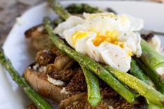 Asparagus, morels, goat cheese, and a poached egg on toast--a spring feast!