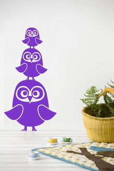3 owls wall decal