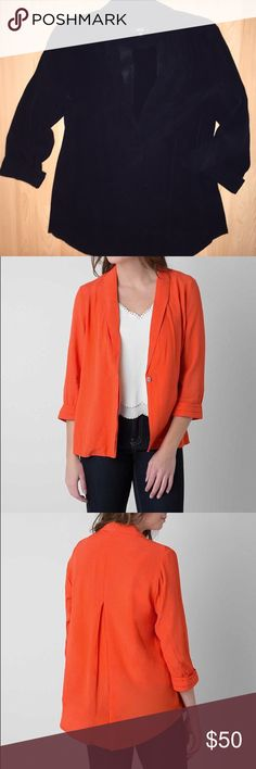 Loose-fitting Blazer ✔️ Great for dressing up casual Friday or even your everyday work attire. It's super comfortable and goes with everything! The pictures of the orange are just to show how the blazer can be worn; the actual item for sale is black as described. New condition. No trades. Very J Jackets & Coats Blazers
