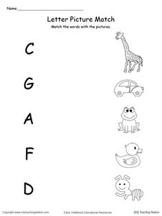 **FREE** Uppercase Beginning Letter Sound: A C D F G Worksheet.Encourage your child to learn letter sounds by practicing saying the name of the picture and connecting with the correct letter in this printable worksheet. English Worksheets For Kindergarten, Printable Preschool Worksheets, Preschool Writing, Alphabet Worksheets, Preschool Learning, Nursery Worksheets, Printable Alphabet, Teaching, Preschool Charts