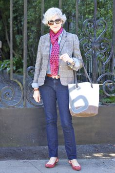 <outfit post> not for men only: denim @AnnTaylor; shirt @Gap; blazer @JCrew; scarf @JCrew; belt @Hermes; shoes @NineWest; sunglasses @RayBan; handbag @North37Design
