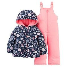 9e6c3dcf7 Just One YouMade by Carter's Girls' 2 Piece Snowsuit Set - Navy Floral/Pink  Infant Girl's, Blue