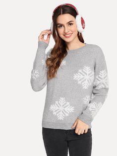 Christmas Drop Shoulder Snowflake Sweater 57b14dd84
