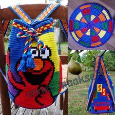 Rugzakje gehaakt voor mijn kleinzoon Wessel met gedraaid koord en geweven banden. Tapestry Bag, Tapestry Crochet, Elmo, Filet Crochet, Cross Stitch Embroidery, Purses And Bags, Needlework, Crochet Patterns, Crochet Bags