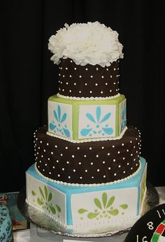 My Blue, Green and Brown Wedding Cake by Amanda's Caketastic Creations, via Flickr