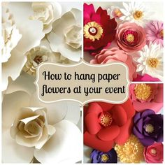 Tips on how to hang paper flowers for backdrops and photo walls. Includes instructions for a DIY stand.