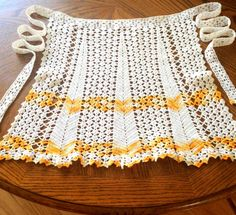 Crochet Apron Crocheted Apron Retro Kitchen 1950s by BlueMoonAttic