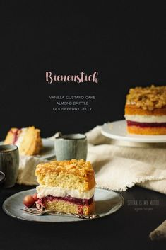 A vegan version of the traditional German Bienenstich (bee sting cake) made with a creamy custard filling and an extra layer of gooseberries. #vegancake #seitanismymotor #veganbaking #bienenstich Baking Tins, Baking Recipes, Cake Recipes, Dessert Recipes, Custard Filling, Custard Cake, Vanilla Custard, Vegan Vanilla Cake, Vegan Cake