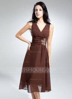 A-Linie/Princess-Linie V-Ausschnitt Knielang Chiffon Kleid für die Brautmutter mit Rüschen Perlen verziert Applikationen Spitze (008014915)