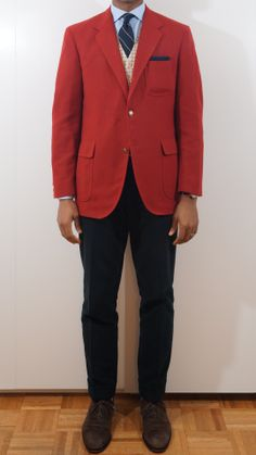 Red Herring I think a solid navy tie may have worked better. What I Wore, Men's Clothing, Mens Suits, Blazer, How To Wear, Jackets, Clothes, Style, Fashion