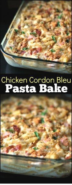Chicken Cordon Bleu is one of my hubby's FAVORITE meals so I surprised him with this Chicken Cordon Bleu Pasta Bake recipe and it BLEW HIM AWAY! This casserole is absolutely delicious, family friendl (Chicken Cordon Bleu) Baked Pasta Recipes, Easy Casserole Recipes, Casserole Dishes, Chicken Recipes, Cooking Recipes, Healthy Recipes, Cooking Tips, Casserole Ideas, Baked Pasta Dishes
