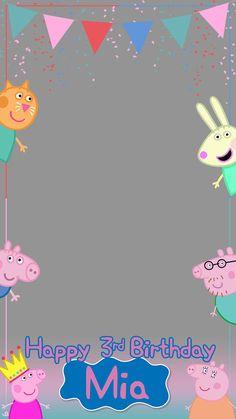 Invitacion Peppa Pig, Peppa Pig Birthday Invitations, Peppa Pig Teddy, Aniversario Peppa Pig, Pig Party, 3rd Birthday, Birthday Ideas, Birthday Party Decorations, Panda