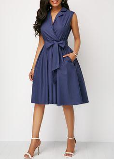 Belted V Neck Sleeveless A Line Dress – Amilyonline Casual Summer Dresses, Trendy Dresses, Elegant Dresses, Blue Dresses, Dress Casual, Wrap Dresses, Beautiful Dresses, Swing Dress, Dress Skirt